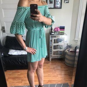 Donna Morgan striped off the shoulder dress size 4